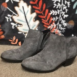 Gray ankle boots
